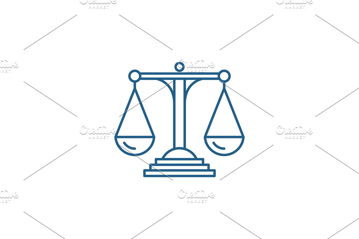 Scales of justice line icon concept in Objects - product preview 8