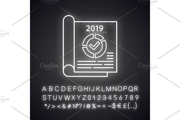 Annual report neon light icon