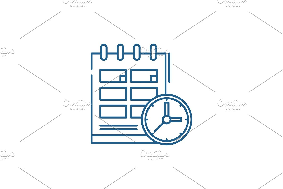 Schedule line icon concept. Schedule in Illustrations - product preview 8