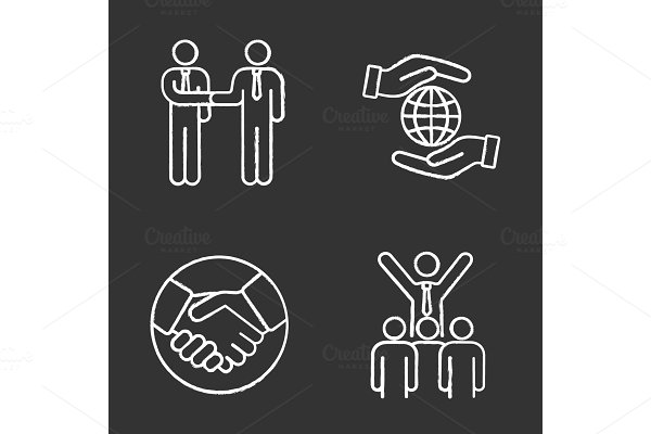 Business ethics chalk icons set