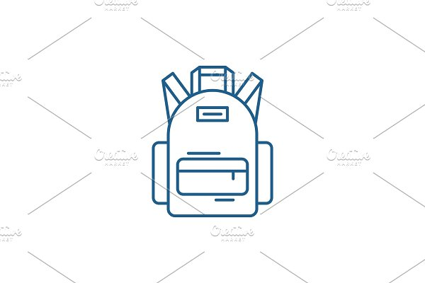 School bag line icon concept. School
