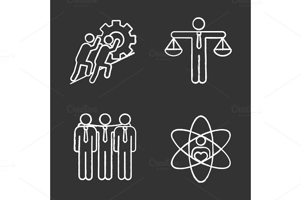 Business ethics chalk icons set