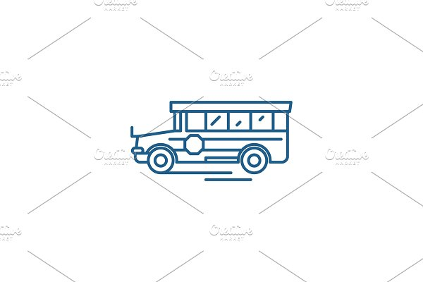 School bus line icon concept. School