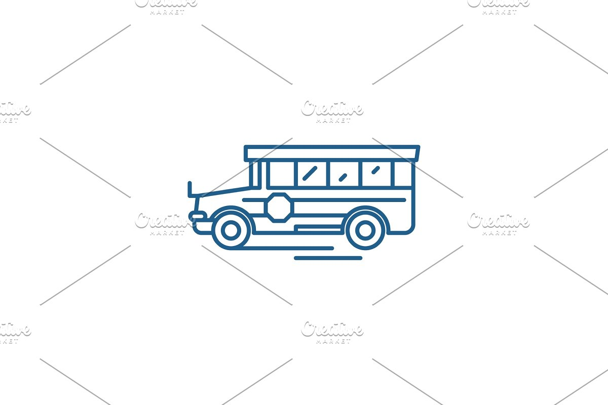 School bus line icon concept. School in Illustrations - product preview 8