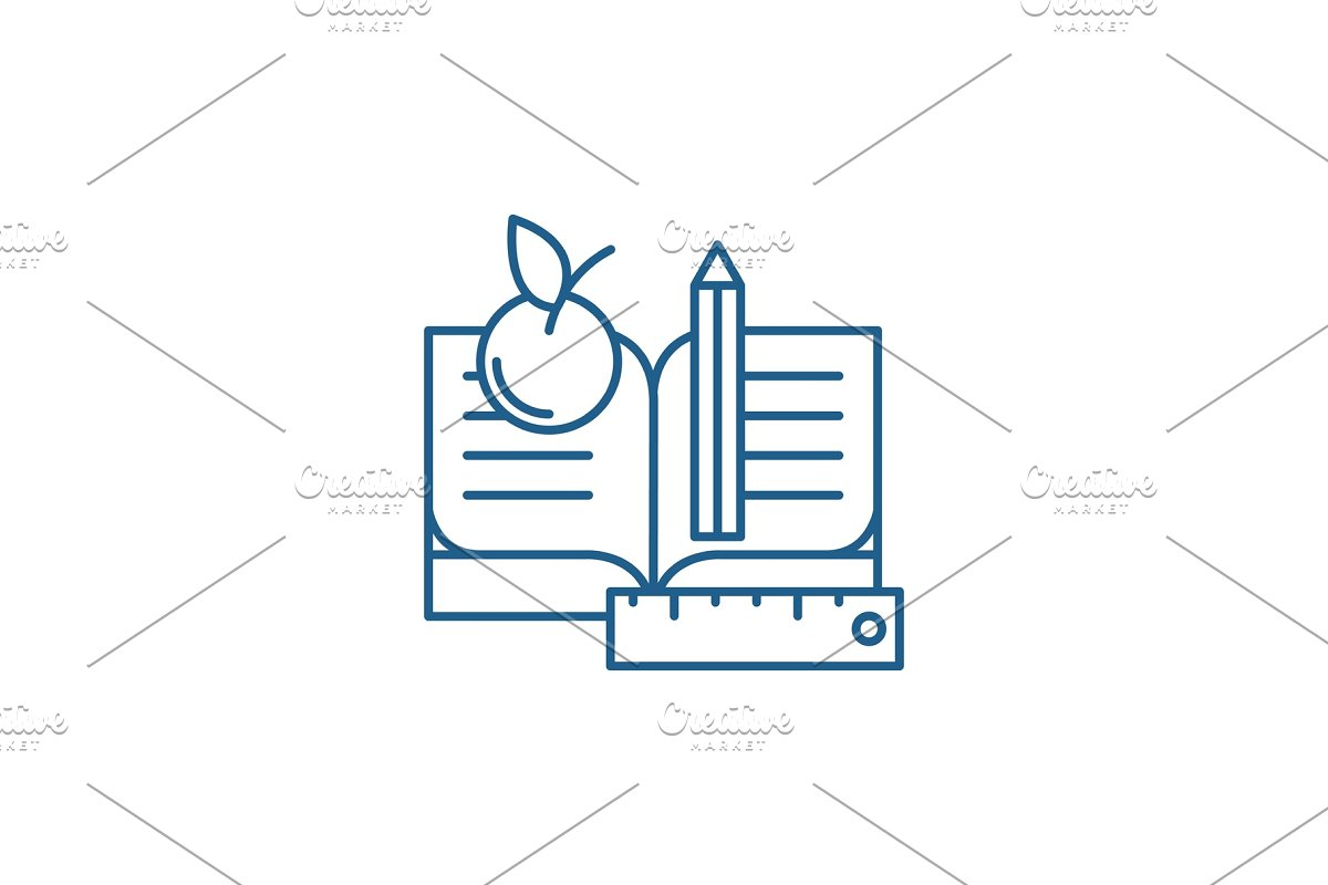 Schooling line icon concept in Illustrations - product preview 8