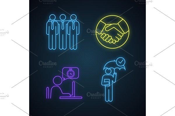 Business ethics neon light icons set