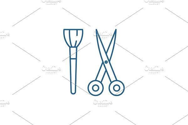 Scissors and visagiste brush line