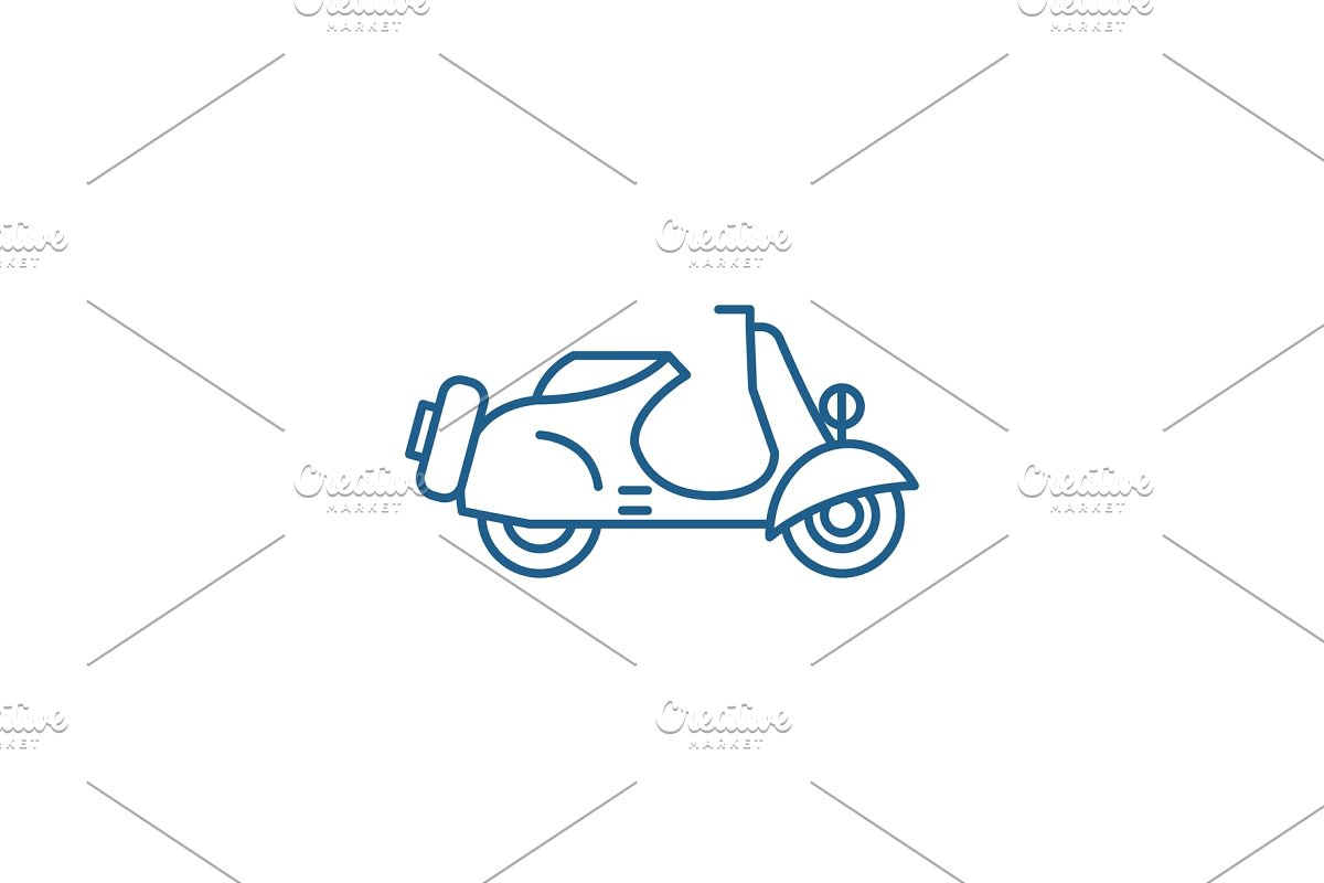 Scooter line icon concept. Scooter in Illustrations - product preview 8