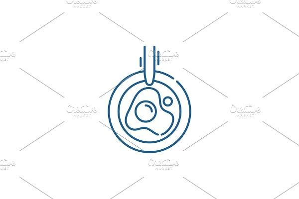 Scrambled eggs line icon concept