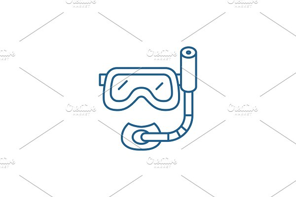 Scuba diving mask line icon concept