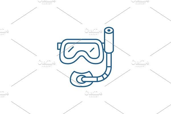 Scuba diving mask line icon concept