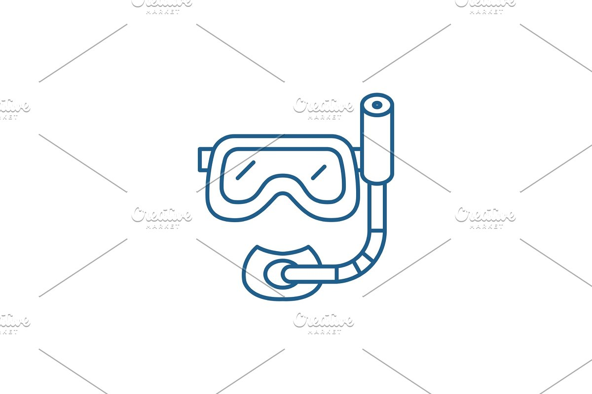 Scuba diving mask line icon concept in Illustrations - product preview 8