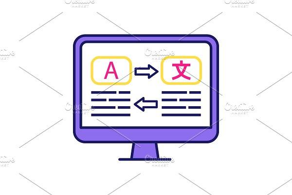 Language translation color icon