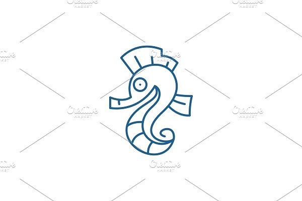 Sea horse line icon concept. Sea