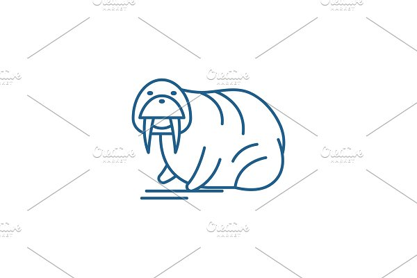 Seal line icon concept. Seal flat