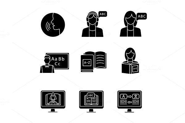 Foreign language learning icons set
