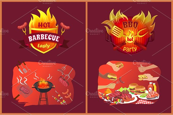 Bbq Party Emblems in Flame and Food