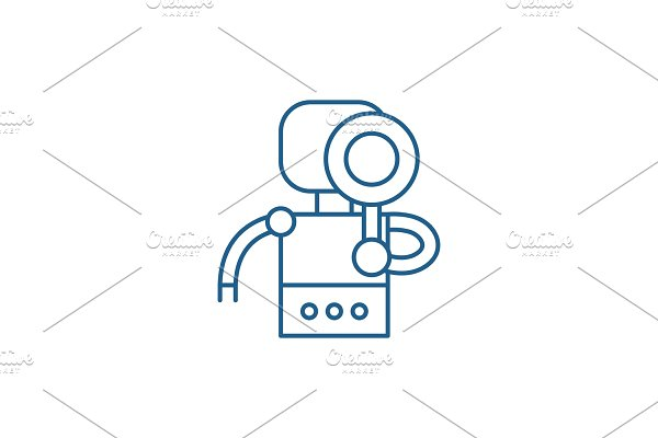 Search robot line icon concept