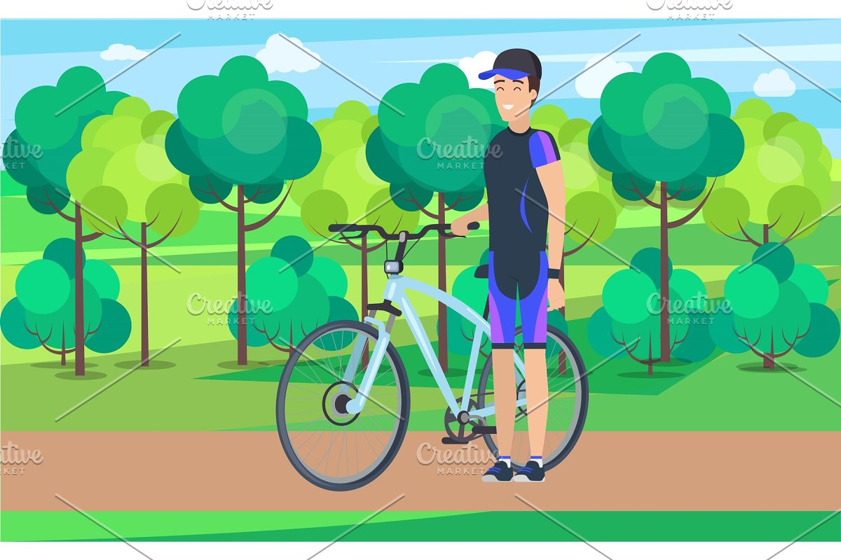 Joyful Athlete on Track with Bicycle in Illustrations - product preview 8