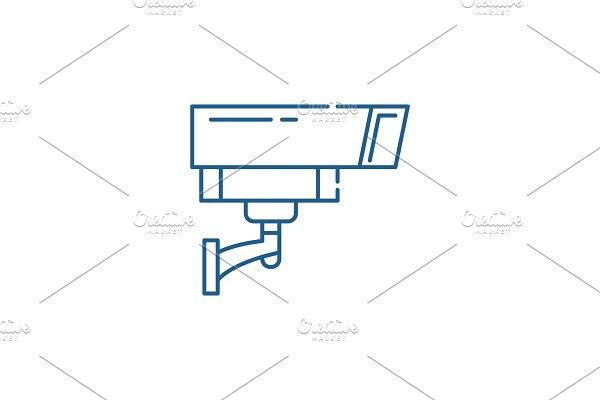 Security camera line icon concept