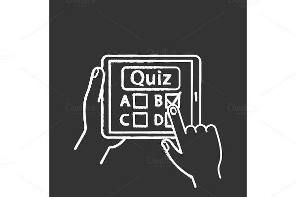 Online quiz chalk icon