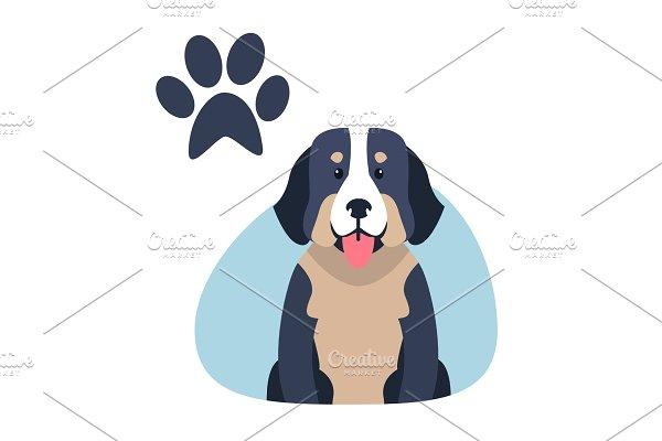 Heavy Bernese Mountain Dog Paw Print