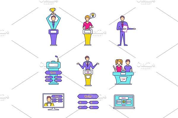 Quiz show color icons set
