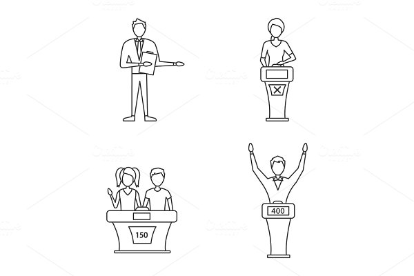Quiz show linear icons set