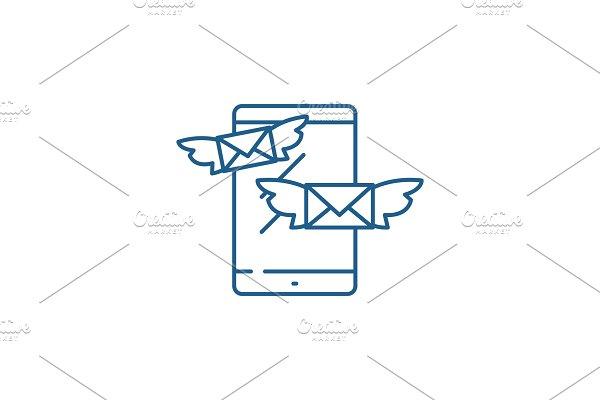 Sending messages line icon concept