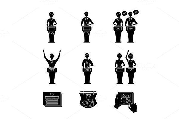 Quiz show glyph icons set