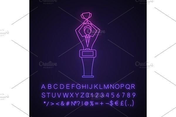 Win neon light icon