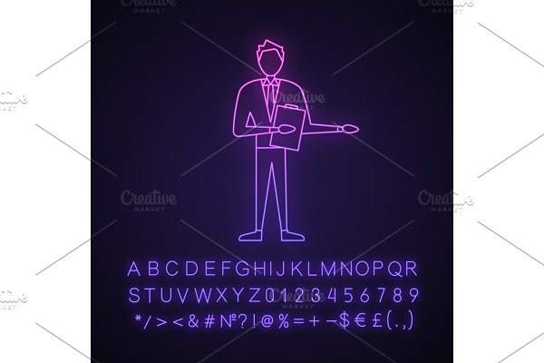 Game show host neon light icon