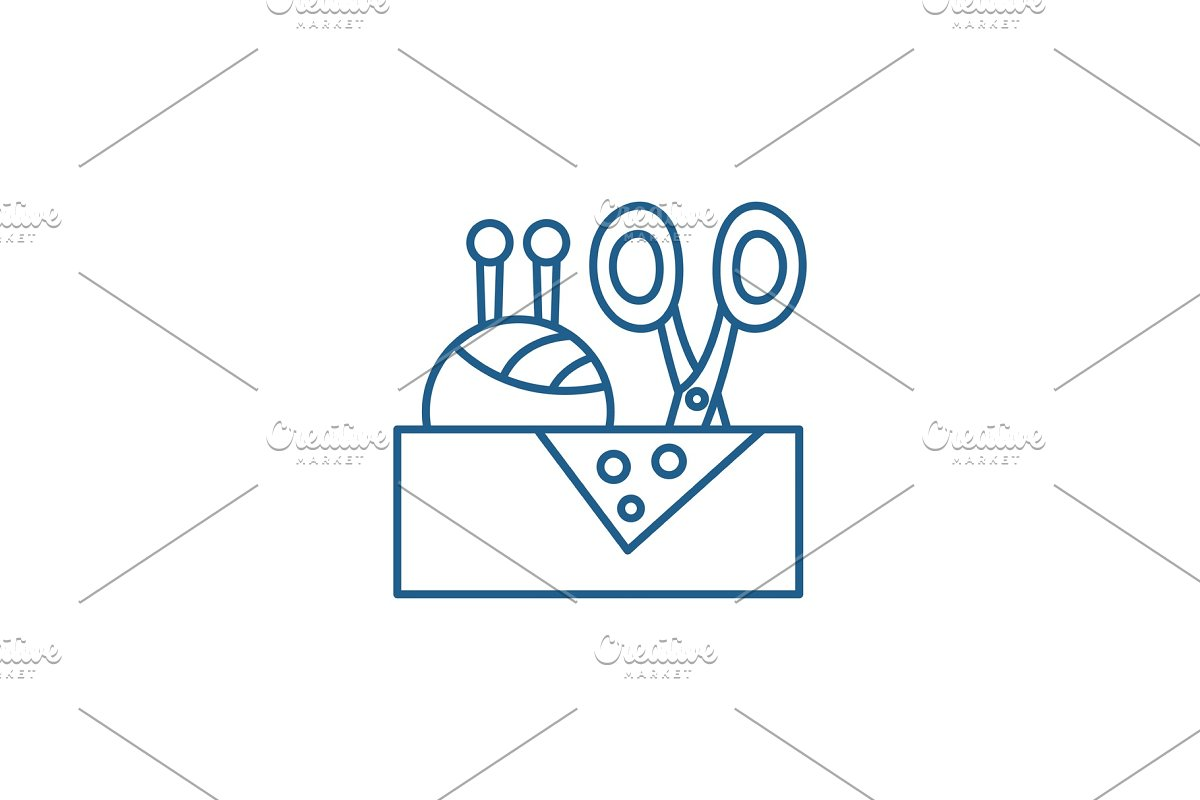 Sewing business line icon concept in Illustrations - product preview 8