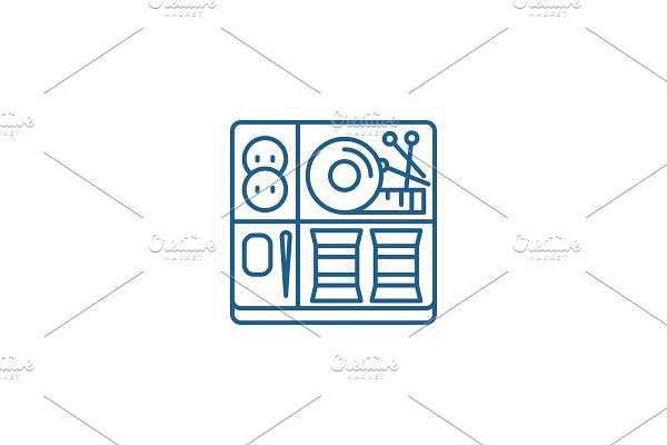 Sewing kit line icon concept. Sewing