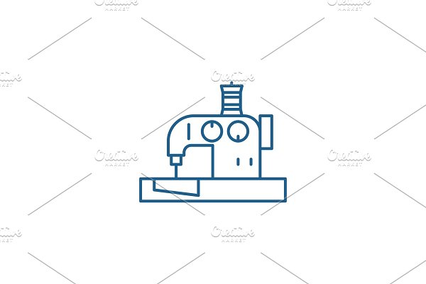 Sewing machine line icon concept