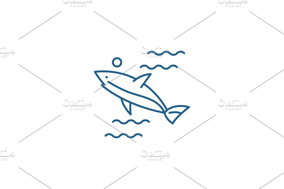 Shark line icon concept. Shark flat in Illustrations - product preview 8