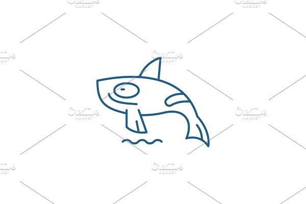 Shark killer whale line icon concept