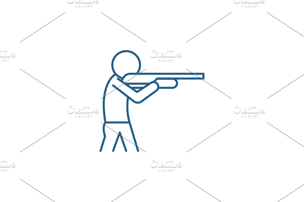 Shooting a gun line icon concept in Illustrations - product preview 8