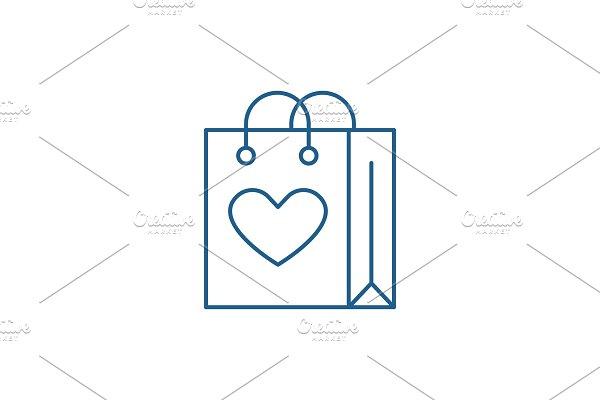 Shopaholic line icon concept