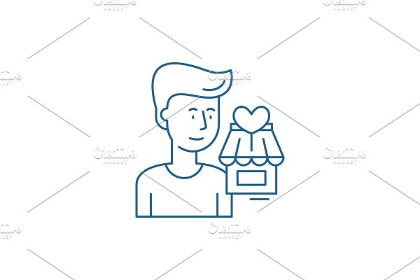 Shopperson line icon concept
