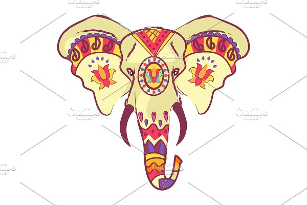 Indian Elephant Head with Bright