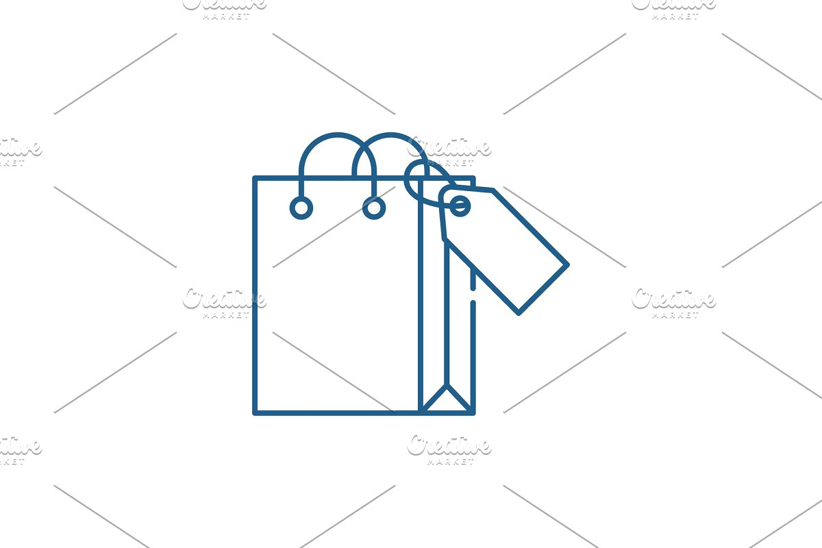 Shopping package line icon concept in Illustrations - product preview 8