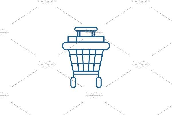 Shopping stroller line icon concept