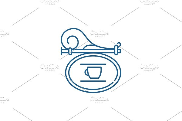 Signboard cafe line icon concept