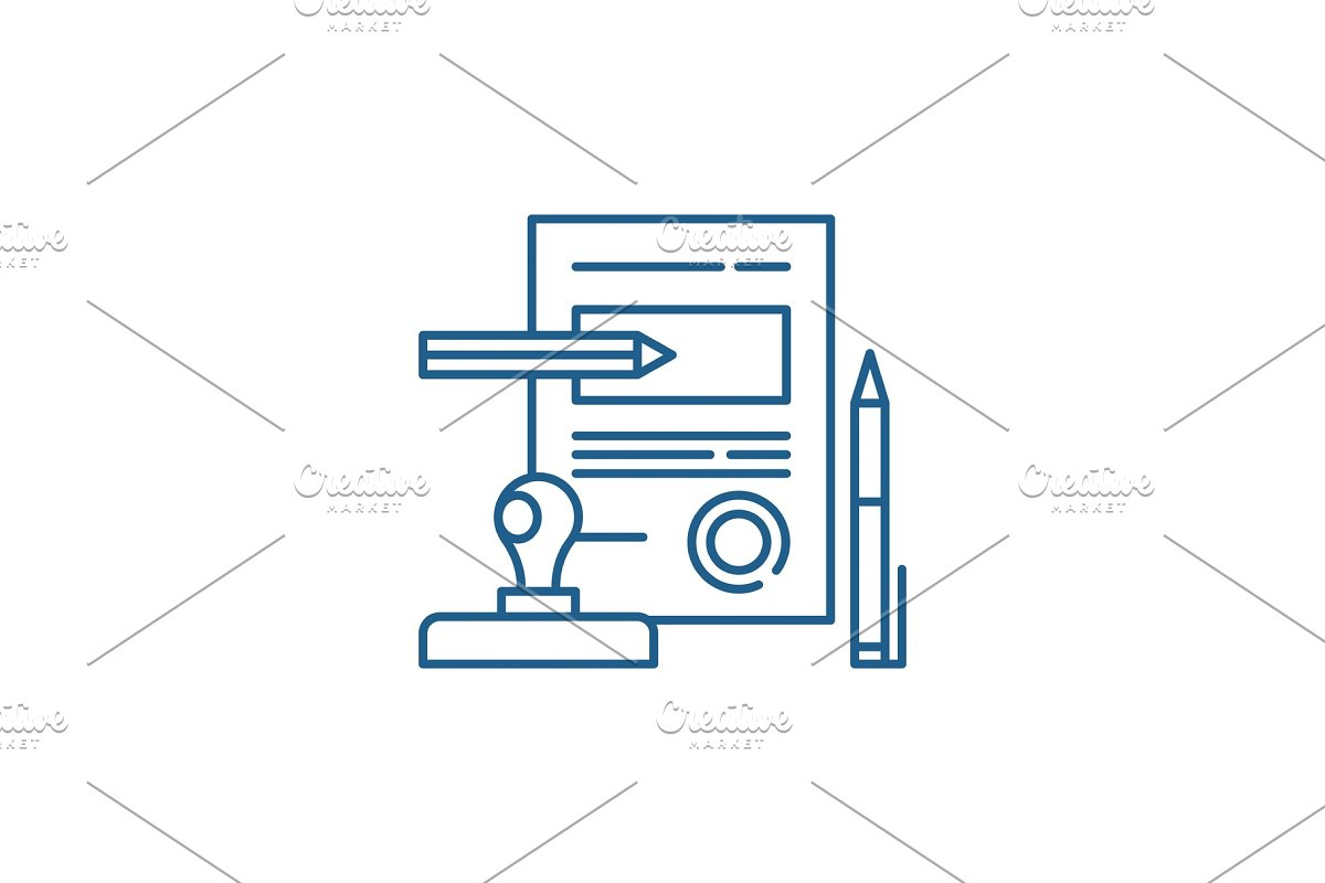 Signing a contract line icon concept in Illustrations - product preview 8