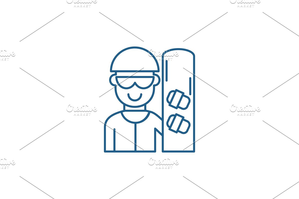 Skateboarder line icon concept in Illustrations - product preview 8