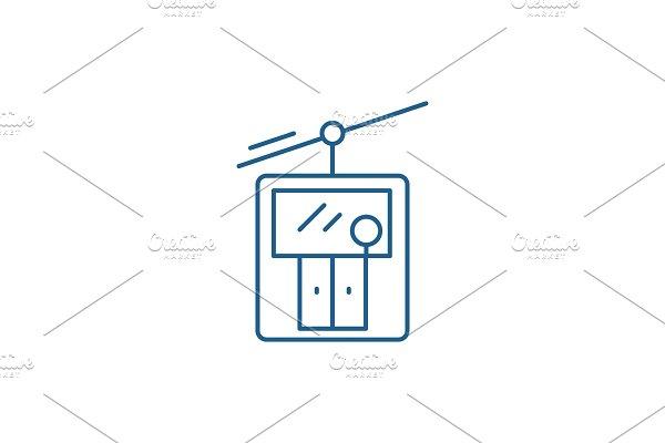 Ski elevator line icon concept. Ski