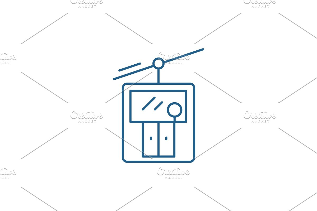 Ski elevator line icon concept. Ski in Objects - product preview 8
