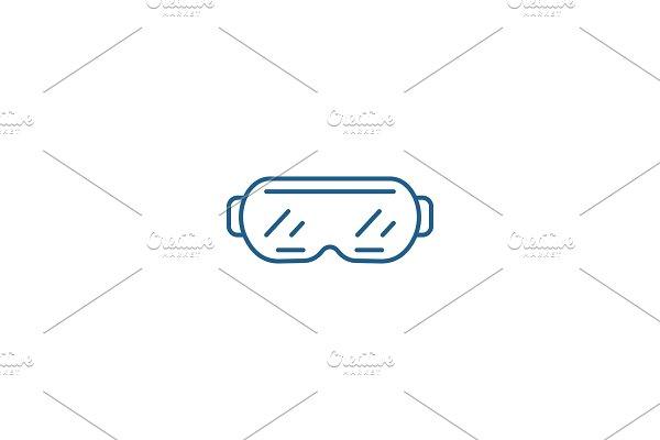 Ski goggles line icon concept. Ski