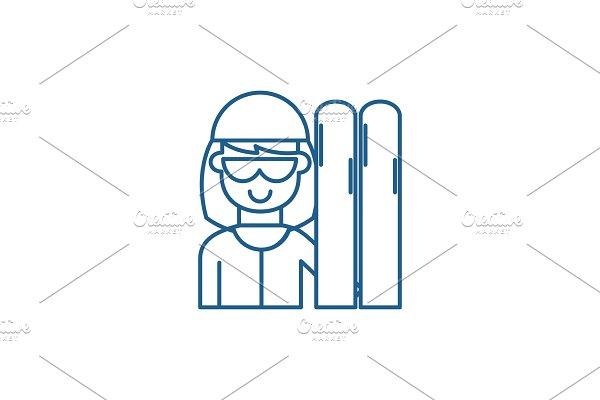 Skier line icon concept. Skier flat